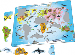 Animals of the World, Map  - Frame/Board Jigsaw Puzzle 29cm x 37cm (LRS  A34-GB)
